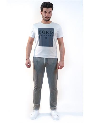 Boris Becker Kısa Kol Bisiklet Yaka Marka Logo Baskılı Erkek Tshirt Beyaz